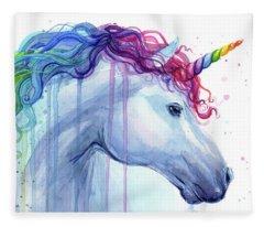 Rainbow Unicorn Watercolor Fleece Blanket