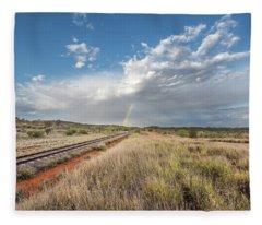 Rainbows Over Ghan Tracks Fleece Blanket