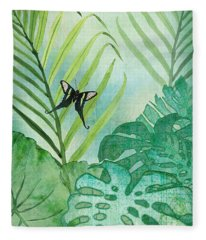 Rainforest Tropical - Philodendron Elephant Ear And Palm Leaves W Botanical Butterfly Fleece Blanket