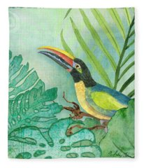 Rainforest Tropical - Jungle Toucan W Philodendron Elephant Ear And Palm Leaves 2 Fleece Blanket