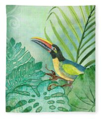 Rainforest Tropical - Tropical Toucan W Philodendron Elephant Ear And Palm Leaves Fleece Blanket