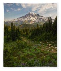 Rainier And Majestic Meadows Of Wildflowers Fleece Blanket