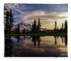 Rainier Sunrise Reflection #3 Fleece Blanket