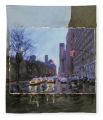 Rainy City Street Layered Fleece Blanket