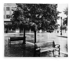 Rainy Day - A Moody Black And White Photograph Fleece Blanket