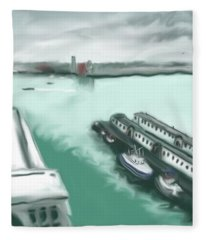 Rainy Day At Boston Seaport Fleece Blanket