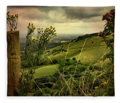 Rainy Day Hilltop View On The South Downs Fleece Blanket