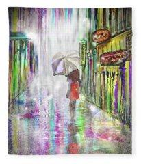 Rainy Paris Day Fleece Blanket