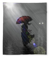 Rainy Walk Fleece Blanket
