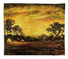 Ralph Blakelock, Indian Encampment Fleece Blanket