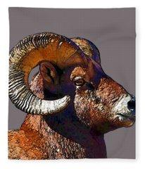 Ram Portrait - Rocky Mountain Bighorn Sheep By Olena Art Fleece Blanket