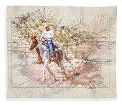 Ranch Rider Digital Art-b1 Fleece Blanket