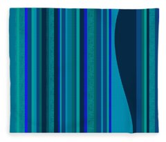Random Stripes - Electric Blue Fleece Blanket