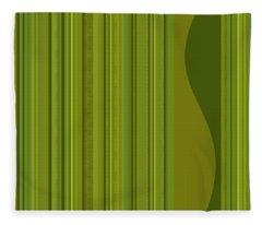 Random Stripes - Golden Green Fleece Blanket