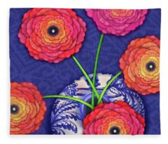 Ranunculus In Blue And White Vase Fleece Blanket