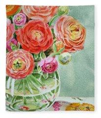 Ranunculus In The Glass Vase Fleece Blanket