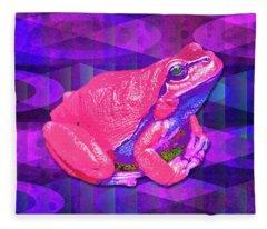 Raspberry Frog Fleece Blanket