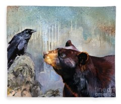Raven And The Bear Fleece Blanket