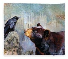 Raven And The Bear Fleece Blanket