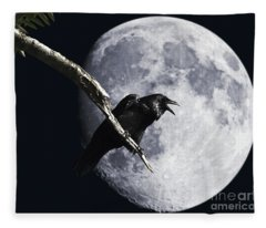 Raven Barking At The Moon Fleece Blanket