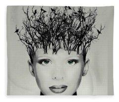Raven-haired Beauty Fleece Blanket