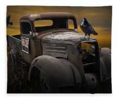 Raven Hood Ornament On Old Vintage Chevy Pickup Truck Fleece Blanket