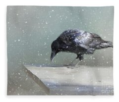 Raven In Winter Fleece Blanket