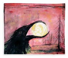 Fleece Blanket featuring the painting Raven Steals The Sun by 'REA' Gallery