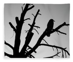 Raven Tree II Bw Fleece Blanket