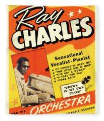 Ray Charles Rock N Roll Concert Poster 1950s Fleece Blanket