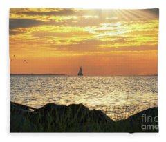 Rays Over Sandy Hook Bay Fleece Blanket