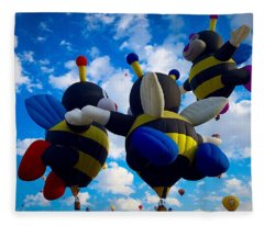Hot Air Balloon Cheerleaders Fleece Blanket
