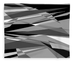 Reaction - Black And White Abstract Fleece Blanket