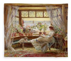 Reading By The Window Fleece Blanket