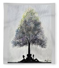 Reading Tree Fleece Blanket