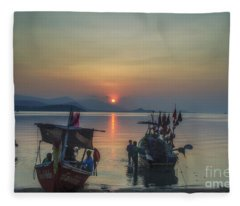 Ready For Night Fishing Fleece Blanket