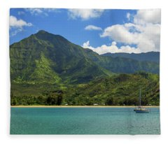 Ready To Sail In Hanalei Bay Fleece Blanket