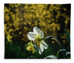 Rear View Daffodil Fleece Blanket