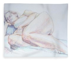 Reclining Study 2 Fleece Blanket