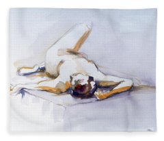 Reclining Study 6 Fleece Blanket