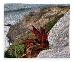 Red Aloe Vera By The Sea Fleece Blanket