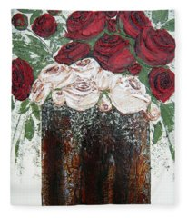 Red And Antique White Roses - Original Artwork Fleece Blanket