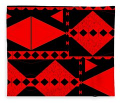 Red And Black - An Arrangement With Tension Fleece Blanket