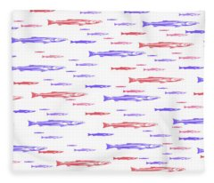 Red And Blue Fish Pattern Fleece Blanket