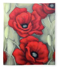 Red And Grey Fleece Blanket