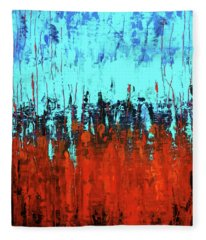 Red And Turquoise Abstract Fleece Blanket