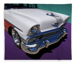 Red And White 1950s Chevrolet Wagon Fleece Blanket