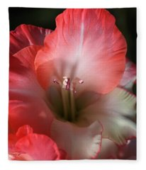 Red And White Gladiolus Flower Fleece Blanket