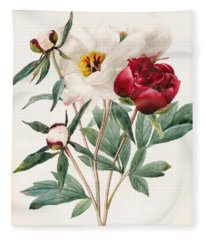 Red And White Herbaceous Peonies Fleece Blanket