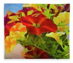 Red And Yellow Flowers Fleece Blanket